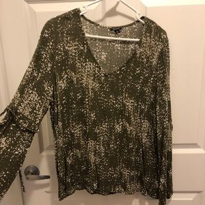 Green Blouse with Speckled Pattern